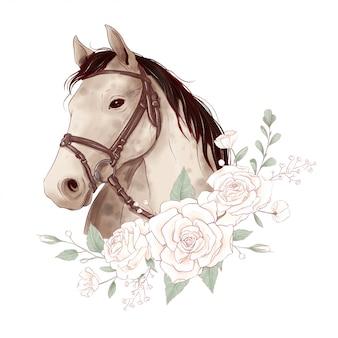 デジタル水彩風とバラの花束の馬の肖像画