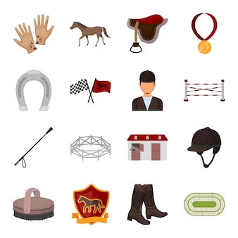 Horse race  cartoon set icon. isolated cartoon set icon equipment jockey.  illustration equestrian race  .