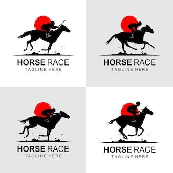 Horse race logo on sunset