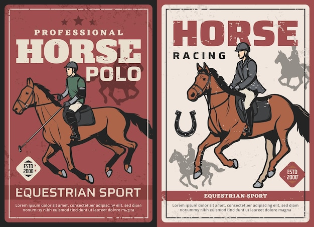 競馬とポロスポーツのレトロなポスター