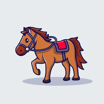 Horse racing cartoon icon illustration.