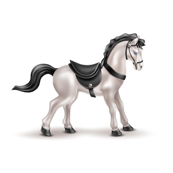 黒のパドル、尾、たてがみを持つ馬のリアルなおもちゃ