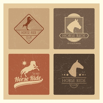 Horse ride club vintage emblem set