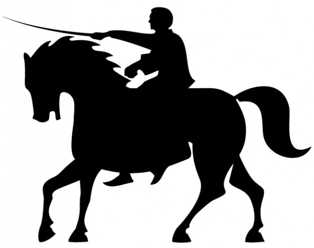 Horse rider silhouettes vector