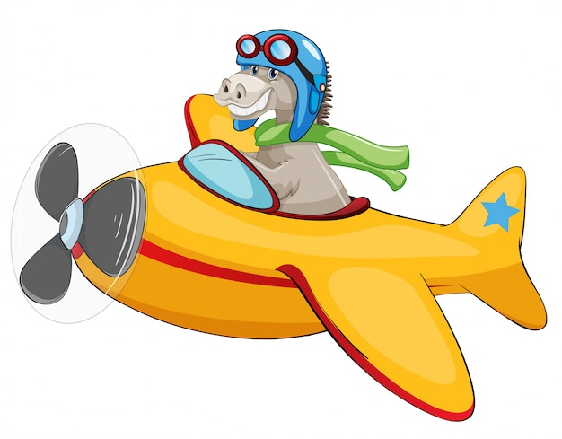 Horse riding airplane on white backgroud