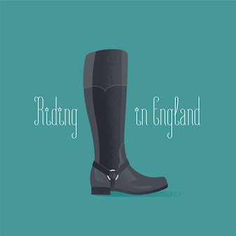 Horse riding boots vector illustration. travel to uk, england design element, clipart