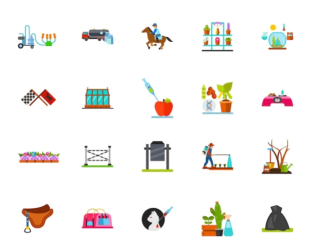 Horse riding and farming icons set