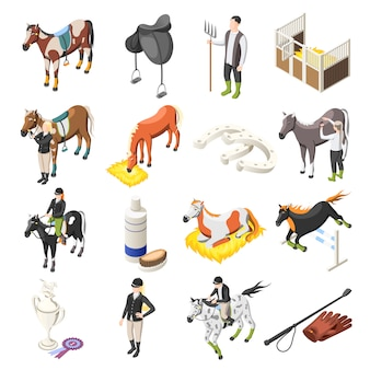 Horse riding isometric icons set