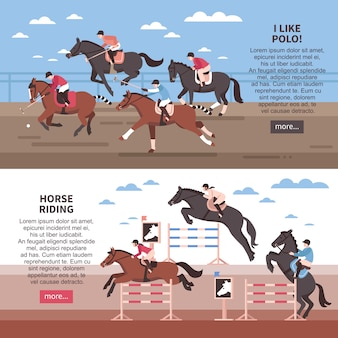 Horse riding and polo banner set