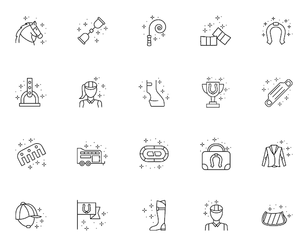 Horse riding set of outline icons