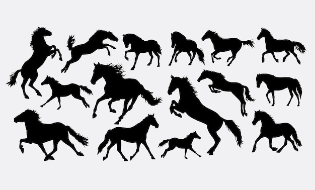 Horse running and jumping silhouette