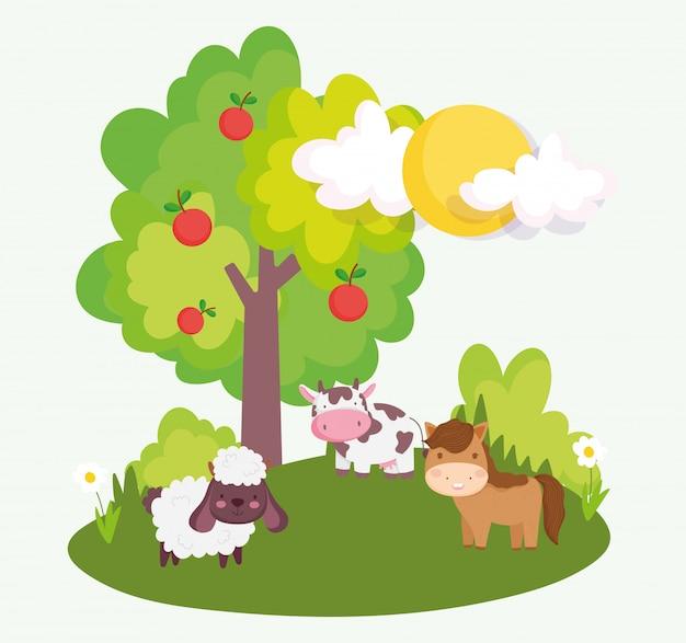 Horse sheep cow tree apples field farm animals