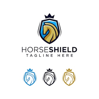 Horse shield logo template ilustration icon