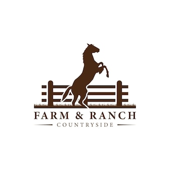 Horse silhouette behind wooden fence paddock for vintage retro rustic countryside western country farm ranch logo