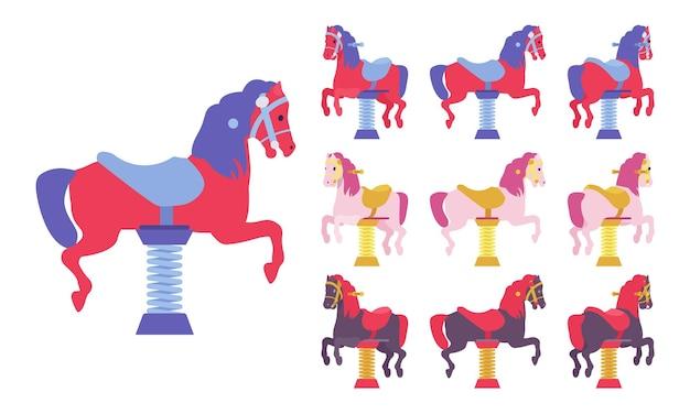 말 스프링 라이더 놀이터 세트, 탄력, 야외 재생 장치. 아이들은 장난감 놀이기구를 타고 있습니다. 흰색 배경, 다른 보기 및 색상에 고립 된 벡터 평면 스타일 만화 그림