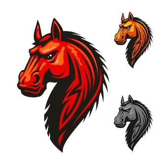 Horse stallion head vector logo. red, yellow, gray isolated horses with mane.