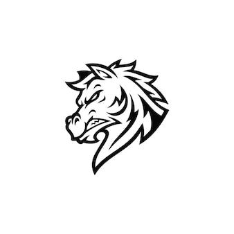 Лошадь жеребец мустанг голова мультфильм талисман иллюстрация логотип в черно-белом цвете