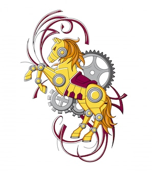 Horse in the style of mechanical steampunk