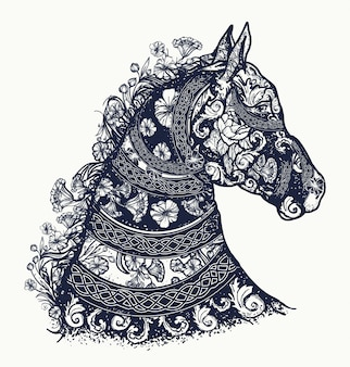 Horse tattoo and t-shirt design
