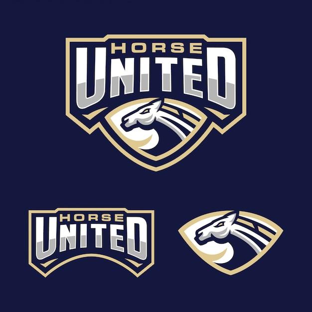 Шаблон логотипа horse team sport