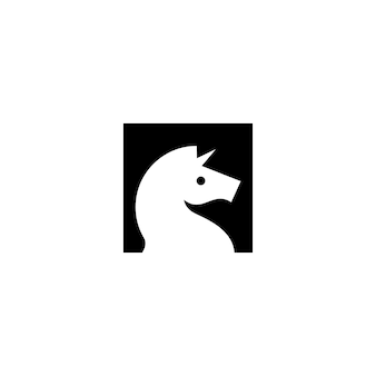 Horse unicorn head logo vector icon illustration