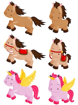 Horse and unicorn vector set