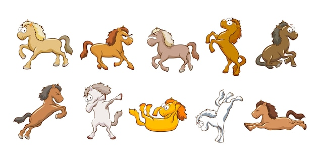 Horse vector set collection