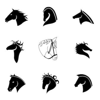 Набор векторных лошади. простая иллюстрация формы лошади, редактируемые элементы, могут быть использованы в дизайне логотипа