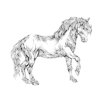 Horse walking in hand drawing ornament