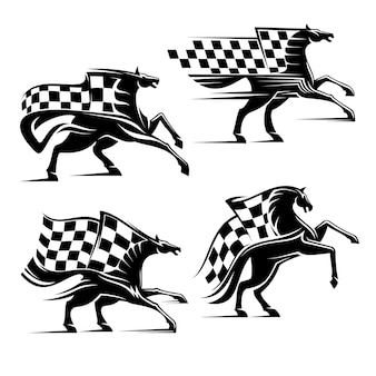 Horse with checkered flag isolated on white