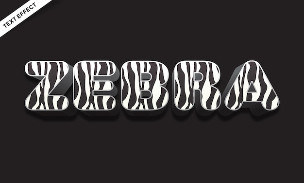 Horse zebra skin color text effect design