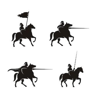 馬に乗った騎士のシルエット馬の戦士パラディン中世のロゴデザイン