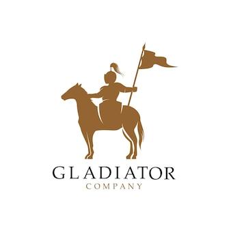 馬に乗った騎士のシルエット、馬の戦士パラディン中世のロゴデザイン