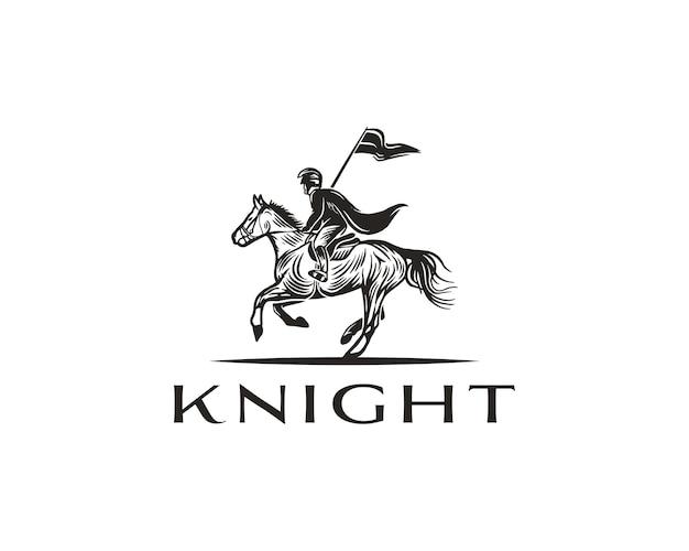 Конный рыцарь силуэт логотип лошадь воин паладин средневековый шаблон дизайна логотипа