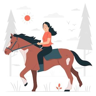 Horseback ridingconcept illustration