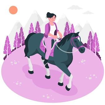 Illustrazione di concetto di equitazione