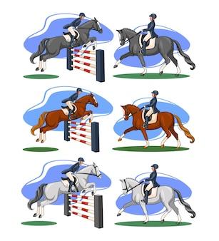 Верховая езда. выездка и конкур. набор. женщина на лошади выполняет элемент выездки и перепрыгивает препятствие. векторная иллюстрация для книг, дизайн логотипа, открытки.