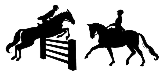 Верховая езда. выездка и конкур. набор. женщина на лошади выполняет элемент выездки и перепрыгивает препятствие.