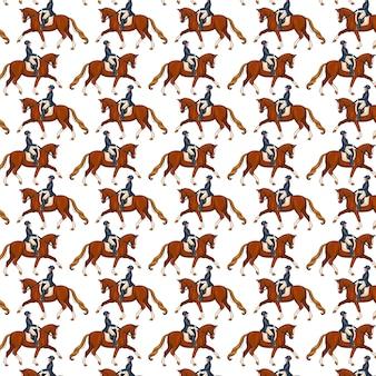 Верховая езда. бесшовные модели. образец с лошадьми. женщина верхом на лошади. мультяшный стиль. для дизайна и декорирования.