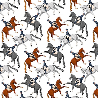 Верховая езда. бесшовные модели. образец с лошадьми. женщина верхом на лошади. мультфильм.