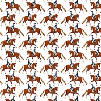 Horseback riding. seamless pattern. pattern with horses. woman riding a horse. cartoon style. for design and decoration.