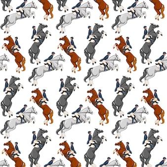 Верховая езда. бесшовные модели. образец с лошадьми.