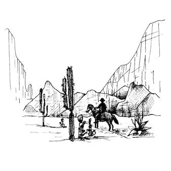 Мексиканский всадник едет на фоне панорамы гор и пустыни.