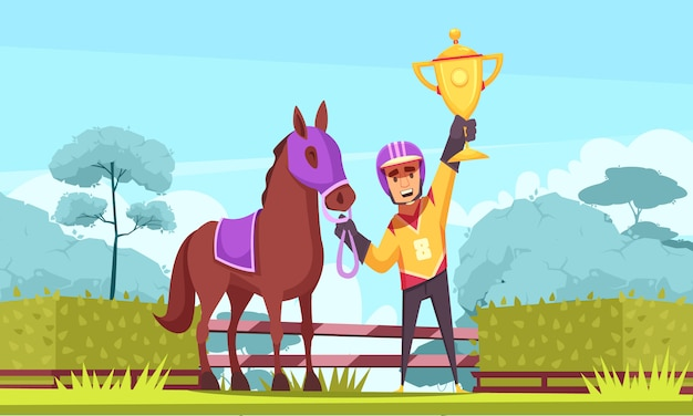 Horseman winner with golden cup