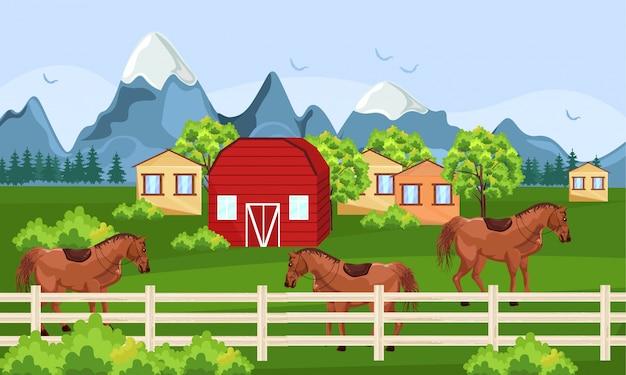 Ферма лошадей и зеленое поле