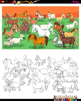 Horses and goats characters group color book
