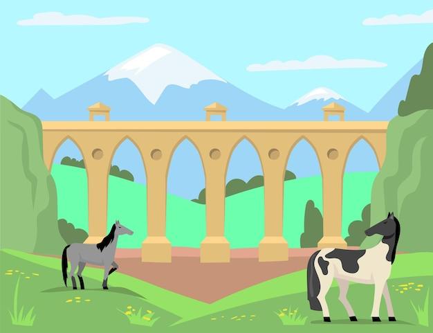 Cavalli al pascolo sullo sfondo del vecchio ponte e del paesaggio. illustrazione del fumetto