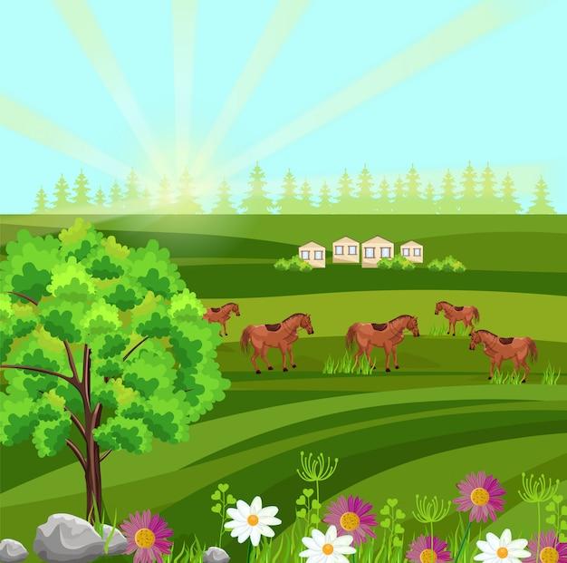 Лошади на зеленом поле