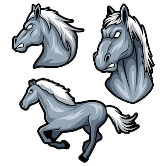 馬セットマスコットベクトルイラストテンプレート