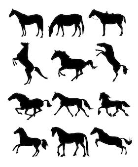 Силуэты лошадей на белом фоне